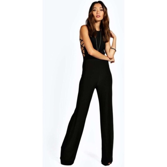 5b5666681c Boohoo Other - Boohoo black sexy side lace up jumpsuit